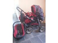 Baby merc pushchair, with car seat and accessories