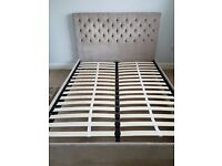 Mink coloured kingsize bed frame from next excellent condition
