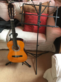 Guitar, stand and Music stand
