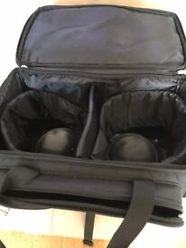 Ten Pin Bowling Balls with 2 x2 Wheeled Carriers