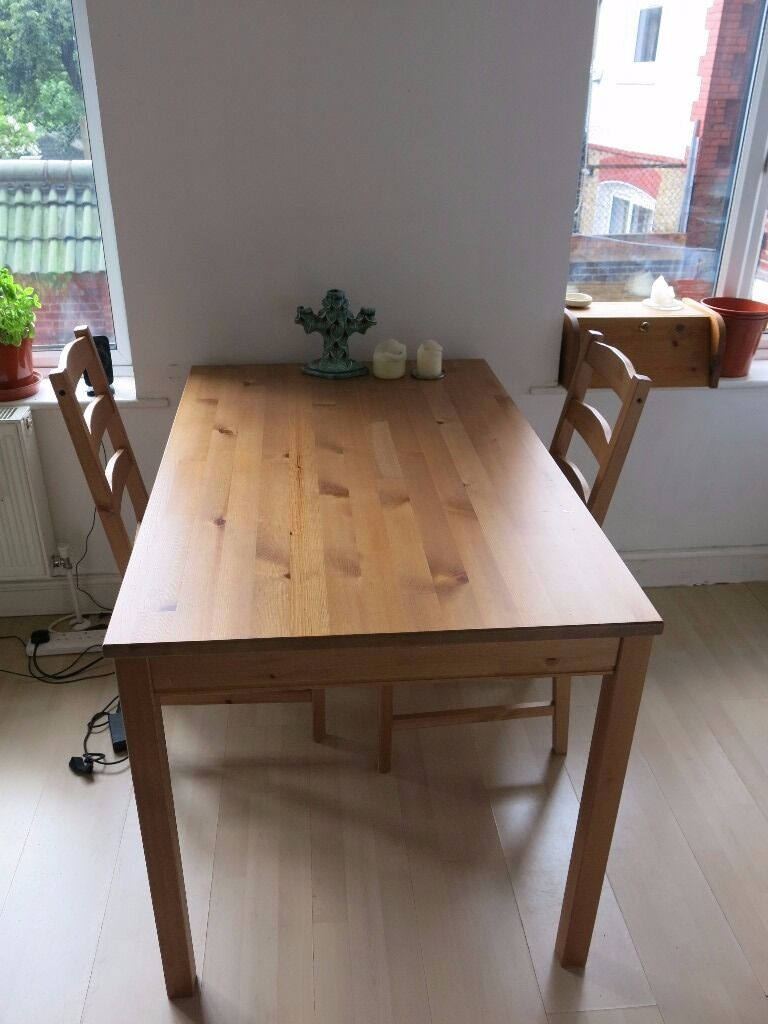Ikea jokkmokk solid pine dining table and chairs in for Pine desk ikea