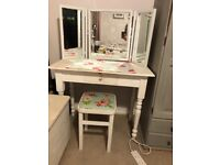 White chalk painted dressing table, stool and mirror