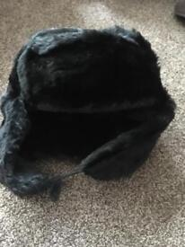 Men's Black Russian furry winter hat - excellent condition