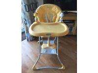 "Graco ""Tea Time"" folding yellow highchair."