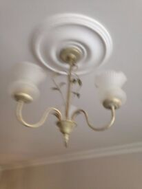 2 3 way ceiling lights and 2 single wall lights in shabby chic brushed gold