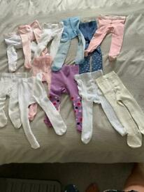 Various coloured baby tights for sale in 0-6 months