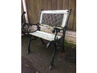 Cast Iron Lattice Backed Garden Chair For Restoration
