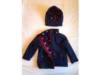 VGC Jojo Maman Bebe 4-in-1 navy Waterproof,+ reversible red/starsOnNavy Polarfleece Jacket.We have 2