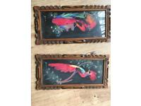 2 painting of the story of Mexican feather craft.