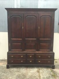 Antique Oak Wardrobe - Linen Press