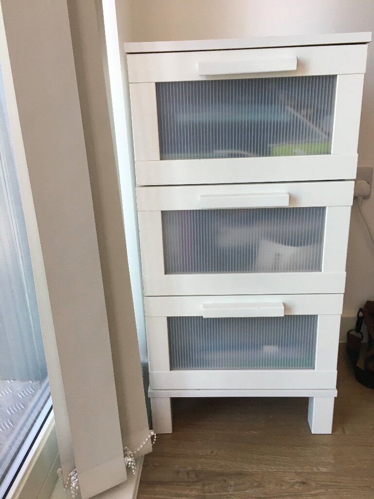 Ikea Aneboda White Bedside Table 3 Drawers