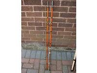 Vintage fishing rod. 10.5 foot, 3 piece, whole cane & fibreglass GP coarse rod.