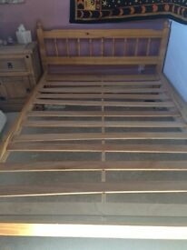Pine Double Bed, excellent condition, Length 198cm, Width 141cm