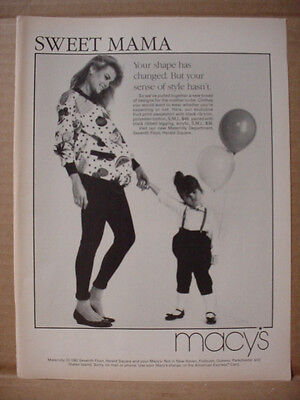 1985 Macy's Store Fashion Pregnant Woman with Daughter Vintage Print Ad 157