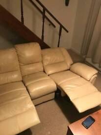 Cream leather recliner dofa