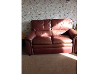 Brown 2 seater leather sofa and 3 seater ryclining brown leather sofa