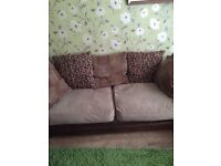 2 x 3 seater brown leather/fabric sofas