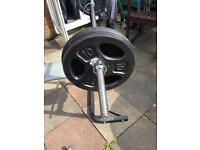 York 501 bench barbell and weights