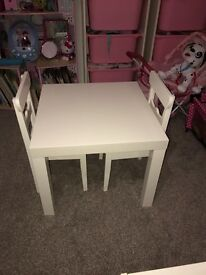 IKEA CHILDREN TABLE AND 2 CHAIRS
