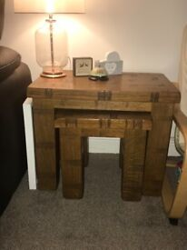 Solid oak tv stand, nest of tables and bookcase