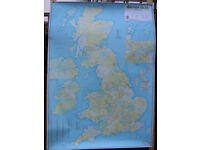3x wall chart maps: British Isles Administrative with Postcodes, World Political, London Central map