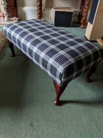 Classic Footstool newly recovered in Art Of The Loom Bertie tartan 100% wool