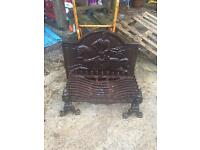 Fire grate, dogs and back plate