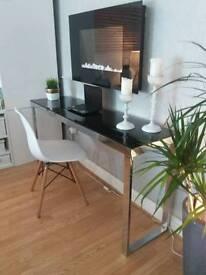 Ikea Modern Console/ Desk Table Black Glass & Chrome