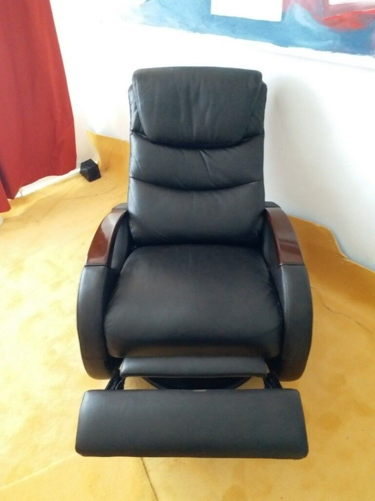 Wood Arm Recliner ~ Derrick swivel and glide wood arm leather reclining chair