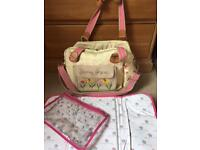 Pink Lining changing bag and accessories