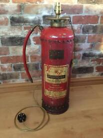 Vintage Dunford Fire Extinguisher Upcycled Lamp Statement Piece Light Feature Industrial Collectible
