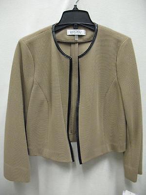 Kasper 10585338 Framed Flyaway Suit Jacket Blazer Dress Layer Tan Black Womens