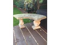 Concrete garden squirrel seat