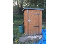 Allotment garden shed, water butt, compost bins and pavers
