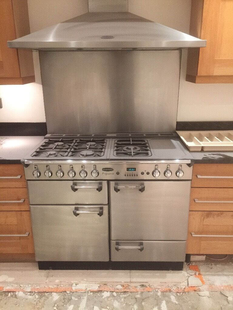 Rangemaster professional 110 gas hob oven extractor cooker hood stainless steel