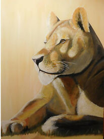 Large hand painted Lioness - Local artist original