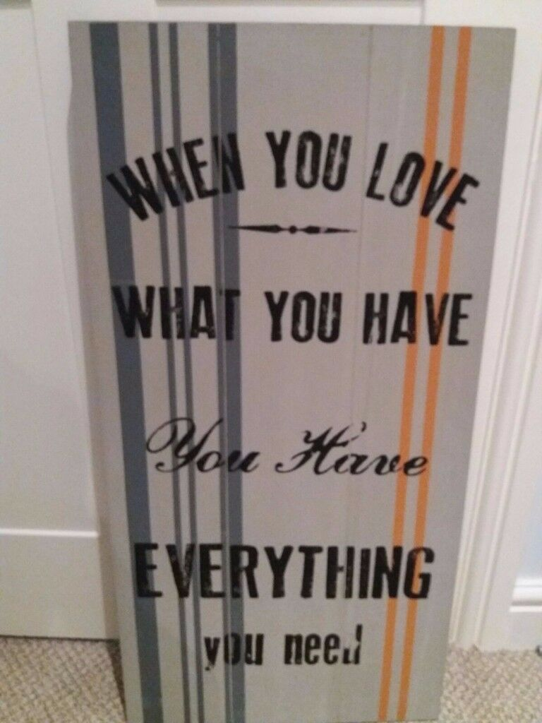 Large Quote Wooden Wall Art Grey Black And Orange In Neath Neath Port Talbot Gumtree