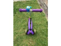 Mini Micro scooter purple - with blue bell / instructions / original box 3-5 years