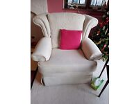 2 x cream armchairs