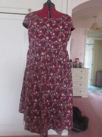 Lindy Bop 1950's style Burgundy/pink floral Tea dress Size 22 BNWOT