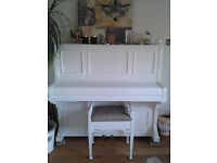 Dale Forty & Co Piano with stool - painted white -REDUCED from £600 to £500