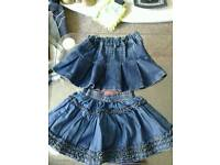Two denim skirts, age 12-18 months