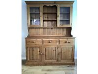 Vintage Waxed pine dresser, table and 4 chairs