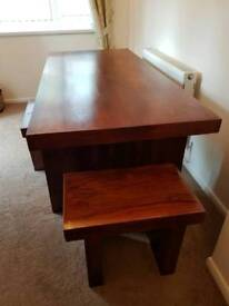Solid, Very heavy dark oak table & 2 matching end stools