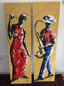 Pair of Canvas Paintings from Brazil
