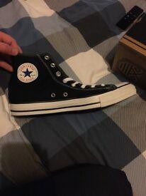Converse hi top trainers, black, mens UK 10 - brand new, unworn, in box