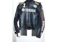 Mens Leather Motorcycle Jacket Yamaha Size Medium