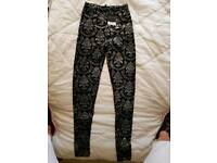 Top shop black and silver sparkly leggings size 6