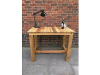 Rustic industrial kitchen island/patio bbq table/ high desk/breakfast bar. Reclaimed, handcrafted.