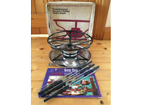 Vintage 1960s? Spring, Switzerland, fondue brazier, 6 forks, recipe book in original box. £8 ovno.